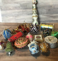 Handmade Beaded Push Pin Christmas Tree Ornaments Lot Of 18 Unique Vintage