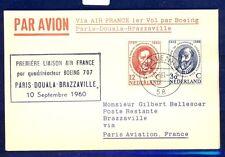 46104) Air France FF Paris - Brazzaville Congo 10.9.60, card Karte Niederlande