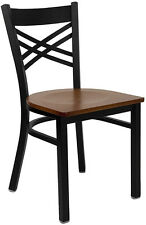 Lot of 20 Metal X Back Restaurant Chairs with Cherry Wood Seat