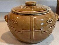 Mid Century Modern Bean Pot Cookie Jar Brown Pottery with Lid        JR
