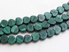 10 x Small Green Malachite Heart Shaped Beads 6mm Semiprecious Stones   (GB1120)
