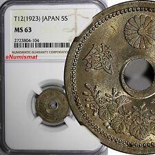 JAPAN TAISHO (1912-1926) T12 (1923) 5 Sen NGC MS63 LIGHT TONED Y# 44