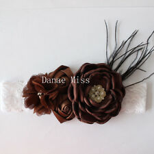 Satin Chiffon BROWN Flowers Pearl Centres & Feather HEADBAND White Lace