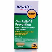 Equate Gas Relief & Prevention Food Enzyme Dietary Supplement, 100 count