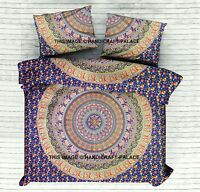 Elephant Mandala Indian Duvet Doona Cover Queen Reversible Quilt Cover Set Blue