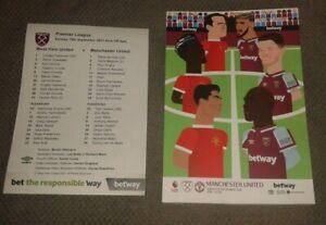West Ham United v Manchester United Programme + FREE Team Sheet 19/9/2021 NEW
