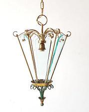 PIETRO CHIESA : MAGNIFIQUE LANTERNE SUPENSION LAMPE 1940 1950 VINTAGE LAITON 50S