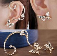 1Pair Fashion Women Butterfly Ear Cuff  Stud Crystal Rhinestone Earrings Gift