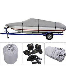 600D 17-19Ft Waterproof Heavy Duty Fabric Trailerable V shape Boat Cover Gray