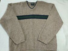 VTG EDDIE BAUER Wool Sweater Men's Pull Over Long Sleeved Brown Striped LG USA