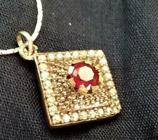 Pendant - Indian Style Design with one large Ruby on a White G/F Chain 40 cm