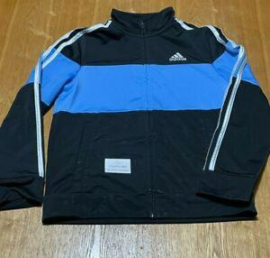 Kids Adidas Zip Up Jacket Size Medium (10-12) Black Blue White Sweatshirt pocket