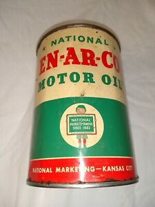 Vintage Original National EN-AR-CO Motor Oil 1 Quart All Metal Can