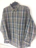 Jos A  Bank XL Travelers Collection Brown Plaid Button Down 100% Cotton Shirt