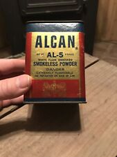 Vtg Alcan Sweeden Black Powder Can Empty Al-5 White Flake