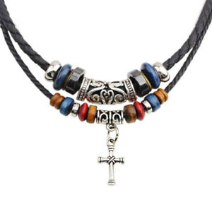 Western Cowboy Cross Pendant Necklace With Adjustable Black Leather Choker Cord
