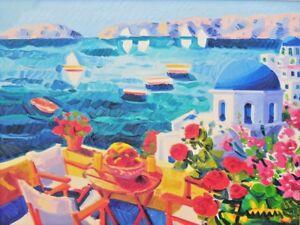 Quadro firmato Athos Faccincani olio tela 30 x 40 paesaggio Satorini certificato