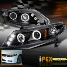 "For 06-11 Honda Civic 4Dr Sedan ""Twin Halos"" Projector LED Headlights Black"