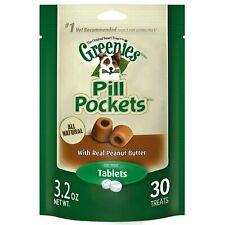 Greenies Tablet Dog Pill Pocket | Peanut Butter 30 Count - Pack of 4