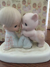 "VTG Precious Moments ""We're In It Together"" Boy and Pig in Mud E-9259 MIB 1982"