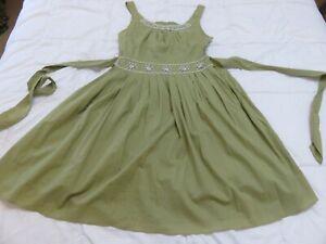 SODAICE PRETTY OLIVE GREEN COTTON SUMMER SUN DRESS UK 10 - 12 BEADED NECKLINE