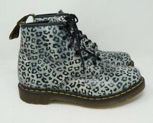 Dr. Martens 101 Psych Leo Leopard/Cheetah Print Combat Boots Gray Women's US 10