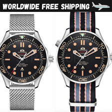 Automatic Bond 007 Sea Homage Watch Master No Time To Die Milanese &Fabric Strap