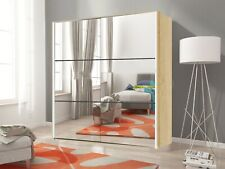 NEW Large Wardrobe with LED LIGHTS + Mirrors and Sliding Doors COLOURS AVAILABLE