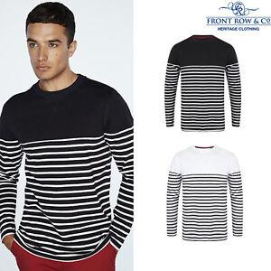 Front Row Crew Neck Long Sleeve Breton Striped T-Shirt (FR134)