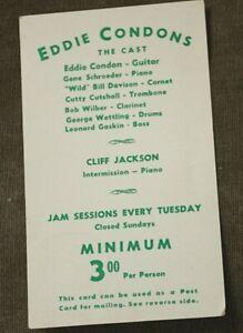Handbill,Postcard-Eddie Condon's Jazz Club W.3rd St,Greenwich Village ca.1940's