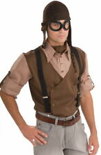 SteamPunk Cosplay WW I Aviator Style Brown Hat and Goggles Set, NEW UNWORN