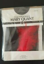 VINTAGE MARY QUANT BLACK FANCY STOCKINGS WITH RIBBON/FEATHER ONE SIZE