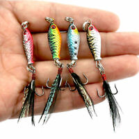 4 Pcs Small Minnow Baits Tackle Fishing Lures Hard Metal Crankbaits Hooks Bait