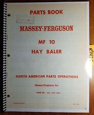 Massey Ferguson MF 10 MF10 Hay Baler Parts Book Manual 651 062 M93 7/65