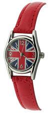 Unisex Childs Union Jack Red Strap Round Face Fashion Quartz Watch bxd 15d