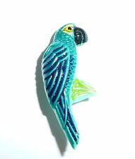 Cute & Colorful Fun Czech Glass Parrot Bird Button Green Turquoise 30mmx13mm