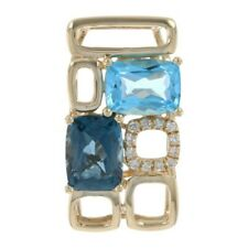 Effy London & Swiss Blue Topaz & Diamond Pendant Yellow Gold 14k Cushion 4.88ctw