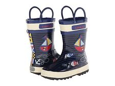 Kamik Rain Boots 100% Waterproof  Navy/Off White Sailboats  Little  Boys Size 11