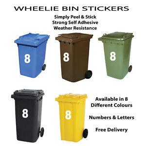 """Big 7"""" Wheelie Bin Door House Numbers Self Adhesive 17.5mm Vinyl Decals Stickers"""