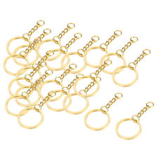 20Pc Gold/Platinum Tone 28mm Key Ring Split Ring With Chain for DIY KEYRING