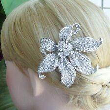 Gorgeous Hair Accessories Clear Rhinestone Crystal Flower Hair Comb 03903C1