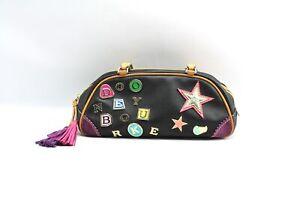 Dooney & Bourke Black Leather Varsity Letter Charm Mini Duffel Bag Purse