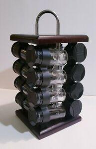 16-Jar Spice/Herbs Seasoning Bottles+ Rotating Rack Set Kitchen Organizer 360°
