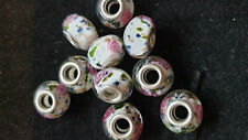 10 DARK WHITE GLASS BEADS WITH PINK ROSES