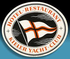 Belle âge Valise Autocollant luggage label 40er Hôtel Kiel Yacht Club * * RAR