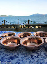 """TRADITIONAL SET 7 SOLID COPPER TIBETAN BUDDHIST RITUAL OFFERING BOWLS 2 7/8"""""""