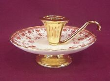 SPODE FLEUR DE LYS RED COLONIAL CANDLE HOLDER - NEW
