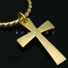 Plated Mens Biker Hip Hop Jewelry Simple Cross Pendant Chain Necklace Gold
