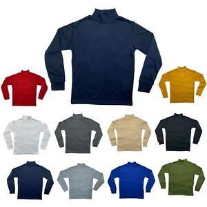 Kids Boys Girls Plain Long Sleeve Top Thermal Thick Cotton Stretch Polo Neck