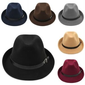 New Adult Wool Blend Fedora Trilby Cap Gangster Caps Jazz Hat Black Leather Belt